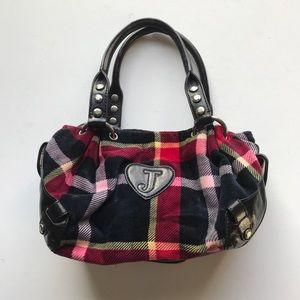 Juicy Couture Plaid Key Fob Satchel Handbag Hello
